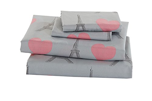 Elegant Home Multicolors Pink Grey Paris Eiffel Tower Bonjour Design with Hearts Fun 3 Piece Printed Twin Size Sheet Set with Pillowcases Flat Fitted Sheet for Girls/Kids/Teens # Paris (Twin Size)