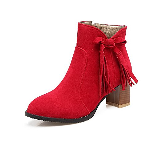 Lining Warm Chain Boots 1TO9 Toe Boots Urethane Strap Red Closed Dress Zip MNS02501 Heeled Womens Nubuck wpax1qf