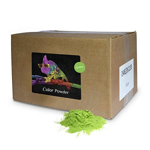 Holi Color Powder Green 25lb Box-includes a free gift, a refillable color ball (C-Ball) by Chameleon Colors