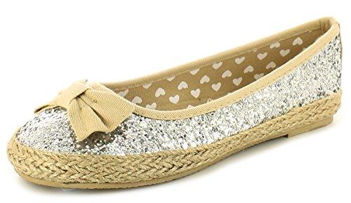 New Girls/Kinder Silber Leinen Espadrilles Stil Mode Schuhe - silber - UK GRÖßEN 10-5