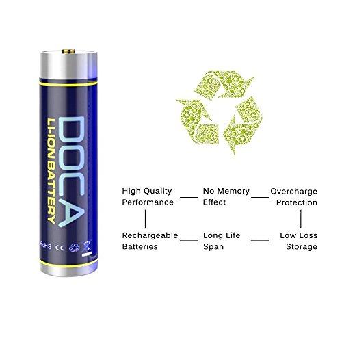 18650 Rechargeable Battery 3.7V 3600mAh Li-on Rechargeable Battery,Li-ion Battery Packs for Flashlight,Headlamps,Bike Light(2 Pcs) by DOCA (Image #3)