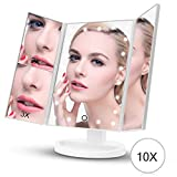FASCINATE Lighted Makeup Mirror, Trifold Vanity Mirror with 21 LED Lights and 2X/3X/10X Magnification, Touch Screen Dimming, Dual Power Supply, 180° Rotation Light Up Mirror (White)