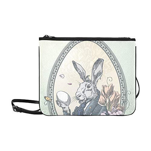 (Vintage Easter Postcard With Rabbit With Little C Pattern Custom High-grade Nylon Slim Clutch Bag Cross-body Bag Shoulder Bag)