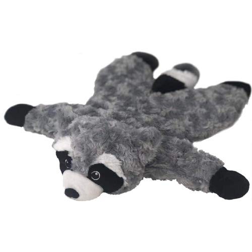 Petlou Stuffingless Floppy Plush Dog Toys with Durable Squeak and Crinkle Paper Dog Chew Toys (Grey/Black, Raccoon 18 Inch)