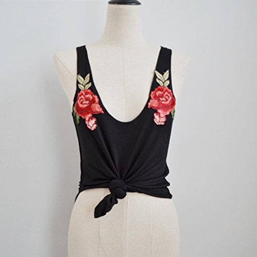 Ropa ALISIAM Camisetas sin mangas Mujeres Moda V-Cuello Appliques Rose sin mangas y Camis Tops Blusa Black