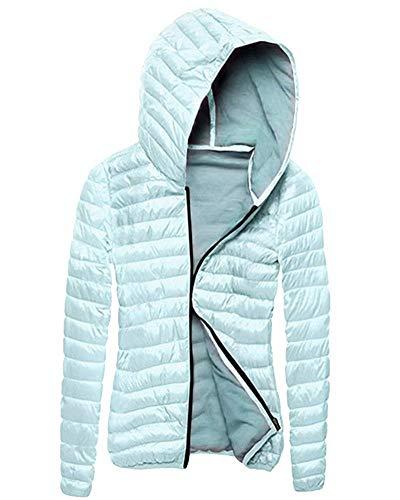 Leggero Incappucciato Giacche Trapuntata Autunno Giacca Fit Donna Cappotto Piumino Transizione Lunga Di Slim Casual Packable Invernali Giovane Blau Fashion Manica 0IwzZ