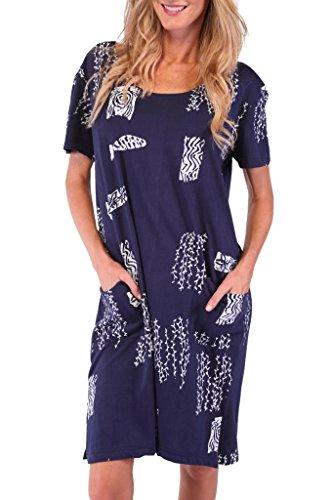 Ingear Maternity Beach Short Tee Dress Navy-Xlarge