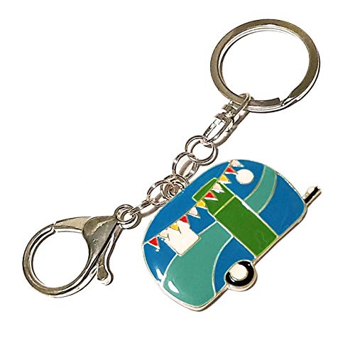 Camping Keychain - Large Blue and Green Enamel Camper Charm - Swivel Keyring and Clip - RV Accessories (Camper Keychain)