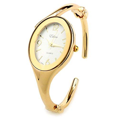 (Gold Oval Face Jewelry Bracelet Women's Hinged Cuff Dressy Bangle Watch)