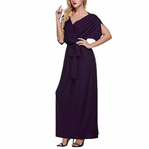QIYUN.Z Boda Fiesta Vestidos para mujer Largo Cuello en V Elegante Púrpura