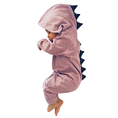 Dinosaur Costume for Baby, Misaky Newborn Boy Girl Hooded Romper Jumpsuit Outfits Clothes for 3-18 Months (6-12M/ Tag 80, Pink)
