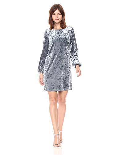 - Adrianna Papell Women's Crushed Velvet Shift Dress with Long Bishop Sleeve, Silver/Grey, 16