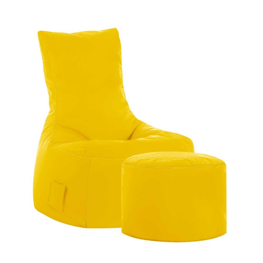 Pharao24 Sessel Sitzsack mit Hocker Gelb Tiefe 65 cm mit Fußhocker Nein