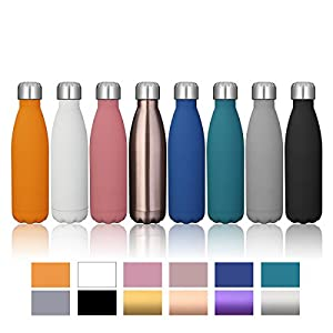 KINGSO 17oz Double Wall Vacuum Cool Insulation Stainless Steel Water Bottle Leak- proof and No Sweating Perfect for Summer Outdoor Sports Camping Hiking Cycling (Black)