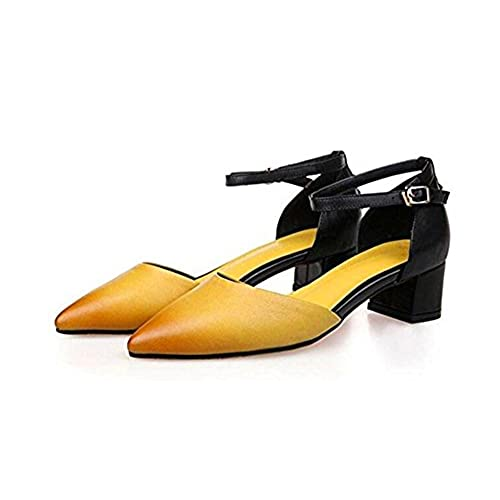dd3126d27bd Buena TGKHUS Zapatos De Cuero Zapatillas Sandalias Gruesas con Hebilla  Zapatos De Tacón Alto ...
