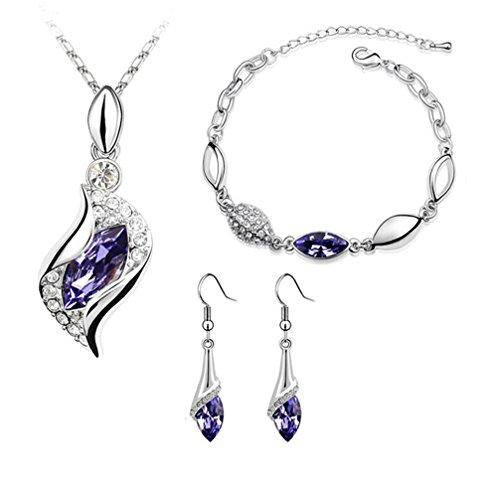 (Silver-tone Angel AAA Marquise Shaped Swarovski Elements Jewelry Set, Australia Import Crystal Necklace, Bracelets, Earrings Ensemble Fashion Jewelry (Purple))
