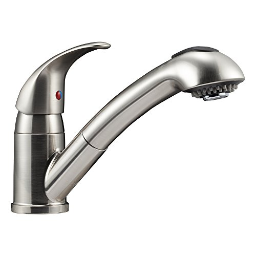 Dura Faucet DF-NMK852-SN Designer Pull-Out Rv Kitchen Faucet - Brushed Satin Nickel - Side Valve Escutcheon