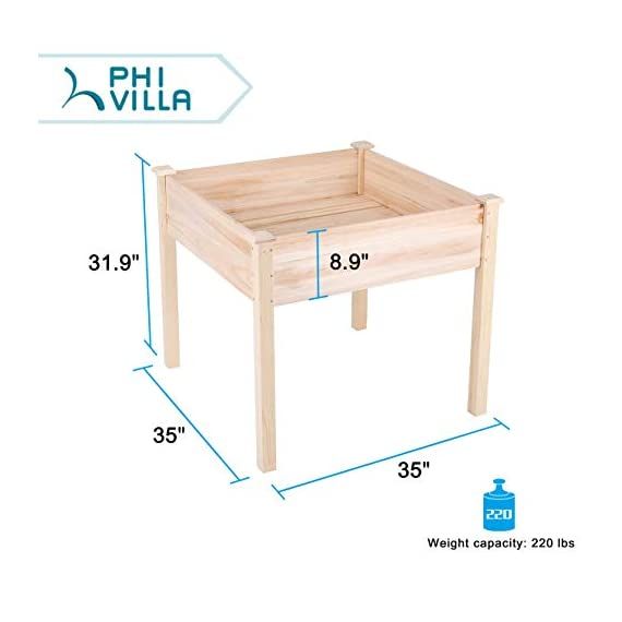 "PHI VILLA Raised Garden Bed Elevated Planter Box for Vegetable/Flower/Fruit/Herb 2 ★100% Natural Material★ This garden bed is made of untreated Cedar wood, no addictive added, environmentally friendly, no harm to human body ★Sturdy and Durable Garden Bed★ Elevated design protects your plants away from rabbits, gophers and pets. 0.6"" thick solid wood, strong enough to support your plants. Weight capacity: 220 lbs ★Easy Working Height★ Stands at 31.9"", no longer need to bend over when gardening, minimize back and knee strain"