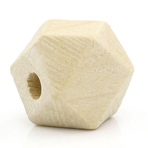 SiAura Material 80 St/ück Polygon Holzperlen 10x13mm mit 2,9mm Loch geometrische Form Naturfarben zum Basteln und Bemalen