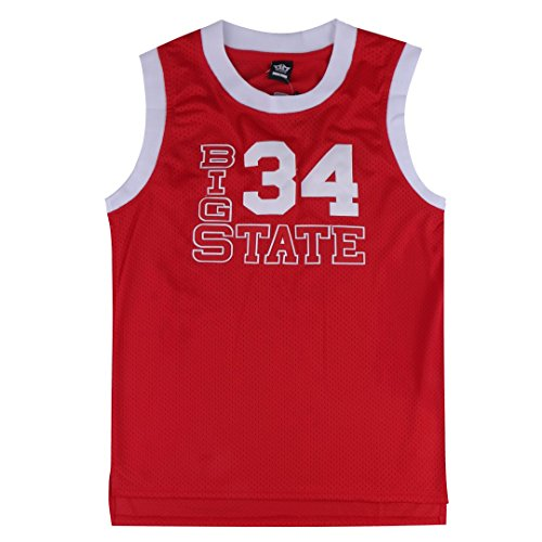 MM MASMIG Jesus Shuttlesworth 34 Big State Basketball Jersey He Got Game S-XXL Red (XL, Red)
