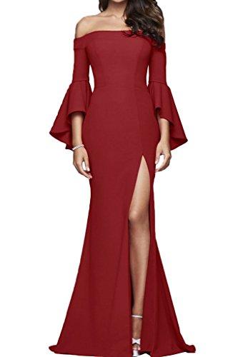 U Etui Linie Promkleid Ivydressing Abendkleid Aermel Lang Modern Damen Partykleid Festkleid Dunkelrot Schlitz Ausschnitt 6EawZHx