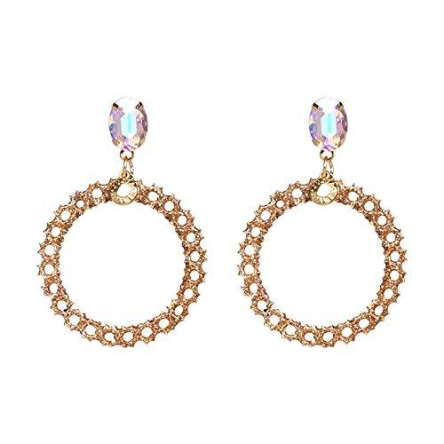 DENGDAI Tassel Earrings for Women,Golden Onion Powder Alloy Earrings Building Mouth Round Earrings Fashion Women Alloy Earrings