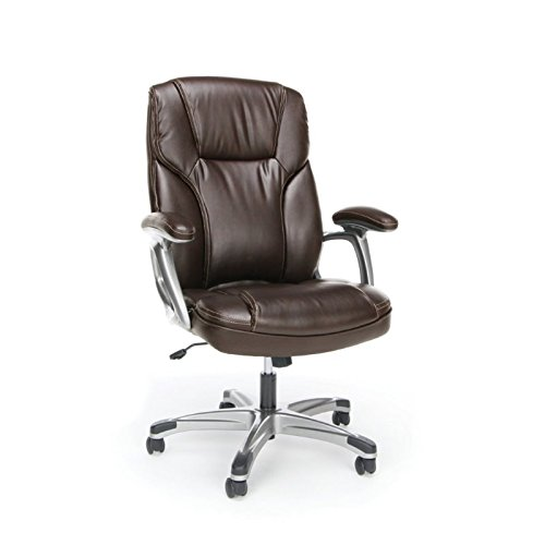 OFM Essentials High-Back Leather Executive Office/Computer Chair with Arms – Ergonomic Swivel Chair (ESS-6030-BRN)