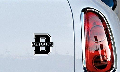 Dad Baseball Letter D Car Vinyl Sticker Decal Bumper Sticker for Auto Cars Trucks Windshield Custom Walls Windows Ipad Macbook Laptop Home and More (BLACK)