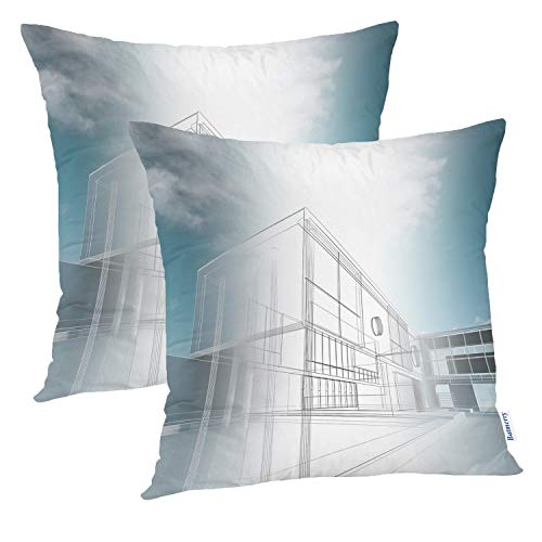 Batmerry Modern Pillow Cover 18x18 Inch Set of 2, Blue Architecture 3D Building Modern Exterior Render Office Double Sided Square Pillow Cases Pillowcase Sofa Cushion