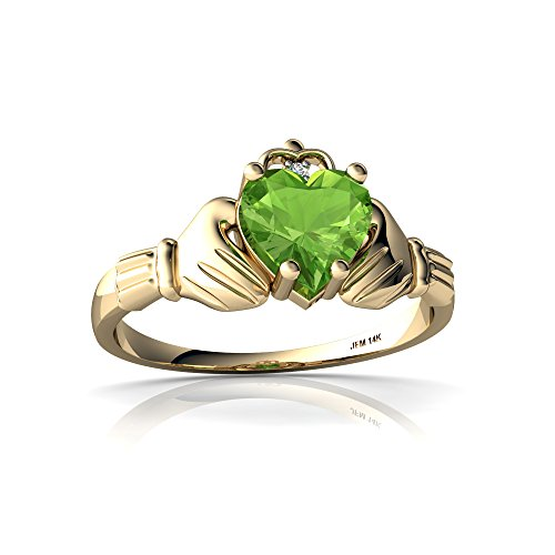 14kt Yellow Gold Peridot and Diamond 6mm Heart Claddagh Ring - Size 5 (Ring Claddagh 14kt)