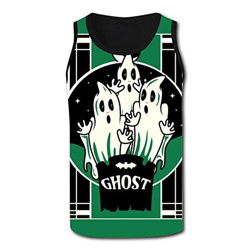 Green Halloween Ghost Men's Tank Tops 3D Printed Sleeveless T Shirts Workout Fitness Tank Top for Men