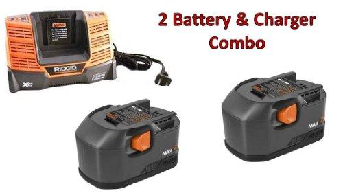 Ridgid R83015 (2 Pack) 14.4V NiCd MAX 1.9Ah Batteries & (1) Charger R840091 Combo # 130254002-BC-140154001
