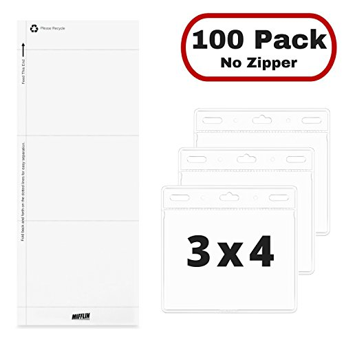 MIFFLIN Plastic Card Holder Horizontal 3x4 Inch Quick Load No Zipper Name ID Badge with Paper Inserts Kit Clear Bulk 100 Pack ()