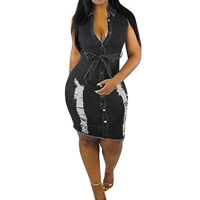 Muranba Womens Dresses Summer Button Down Denim Sexy Dress Ladies Lace Jeans Long Shirt Dress
