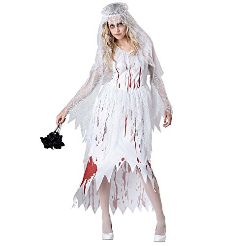 Child Ghost Bride Costume (Halloween costume adult child party party witch ghost bride zombie red magic dinosaur vampire dress (Ghost bride2(160-170CM)))
