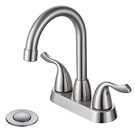Desfau Modern 3 Hole 4 Inch Centerset Two Handle Bathroom Faucet