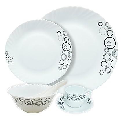 Diva Classique Misty Drops Dinner Set, 19-Pieces, White/Black
