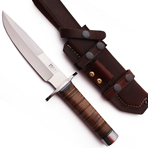 GCS Custom Handmade Stacked Leather Handle Bowie D2 Tool Steel Knives Buffalo Hide Sheath 147 -