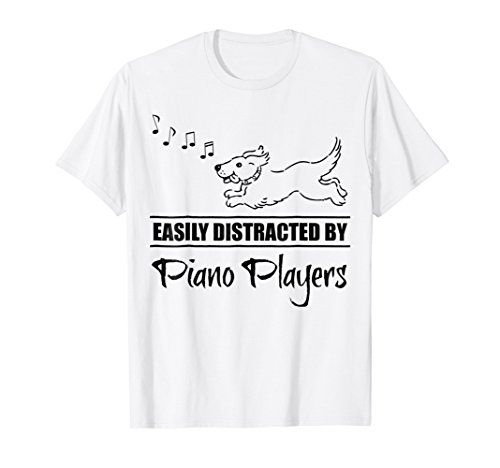 Cute Dog Easily Distracted by Piano Players T-Shirt