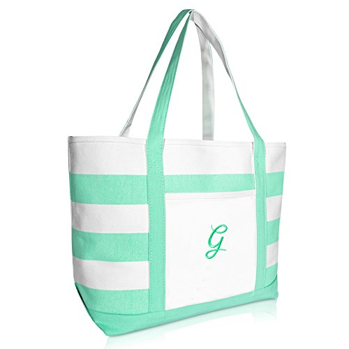 DALIX Monogram Beach Bag and Totes for Women Personalized Gifts Mint Green G