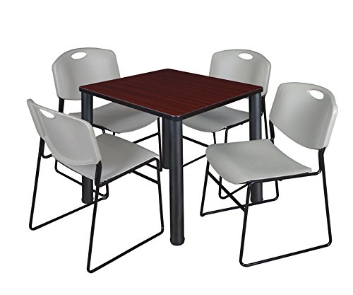 "Kee 30"" Square Breakroom Table- Mahogany/ Black & 4 Zeng Stack Chairs- Grey"