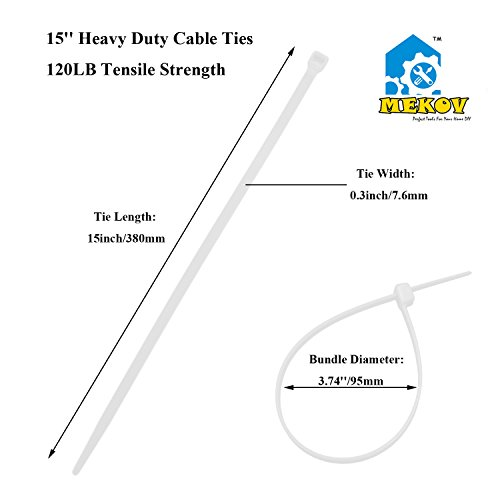 Nylon Cable Ties, Mekov, 15 Inch Heavy Duty Cable Ties, 120-LB Tensile Strength, Zip Ties with 0.3 Inch Width, Durable, Indoor & Outdoor use, UV Resistant (15'', 100 Pack, White) by Mekov (Image #1)