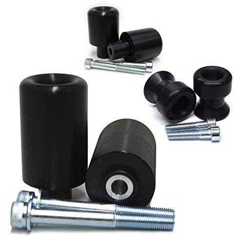 2012-2016 Suzuki GSXR1000 Black Complete Frame Slider Kit; Includes: Frame Sliders, Swing Arm Spools and Bar Ends - 755-5359 - MADE IN THE USA