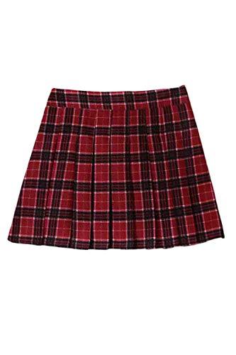 Zilcremo Femmes Adolescents Taille Haute Plaid Jupe Ruch Mini Vintage Jupes Rouge
