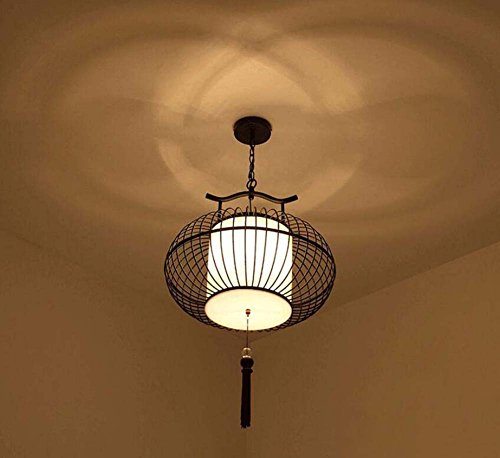 Onfly Iron Bird Cage Chandelier,Chinese Style Hollow Lantern Pendant Lamp,fabric Lamp Shade+tassel Fringe Hanging Lamp,Deco Hanging Lamp(without Bulb) (Color : Black, Size : 30CM)