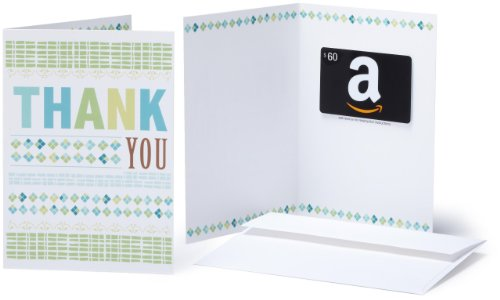 Amazon.com $60 Gift Card in a Greeting Card (Thank You Design)