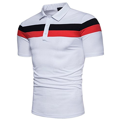 Mens T-shirt ! Charberry Mens Stitch POLO Shirt Short Sleeve Fashion Personality Casual Slim Short Sleeve Patchwork T Shirt Top Blouse (US-XL/CN-L2, White) from Charberry