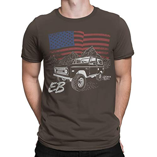 Ford Early Bronco EB, American Flag T-Shirt - Multiple Colors Dark Chocolate
