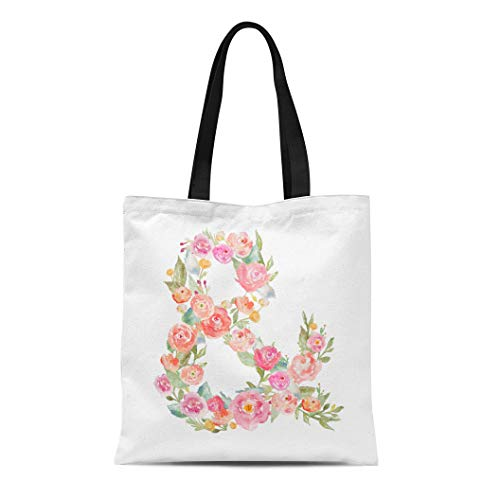 Semtomn Cotton Canvas Tote Bag Floral Ampersand Watercolor Flowers Letter Monogram Made Sign Symbol Reusable Shoulder Grocery Shopping Bags Handbag Printed