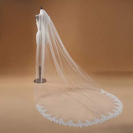 d263c7b46a Image Unavailable. Image not available for. Color  LoLa Ling White Ivory  Cathedral 3m Long Wedding veils 2019 Lace Edge Bridal Veil with Comb